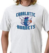 Charlotte Hornets T-shirt. Vintage Gray, Khaki, White, Yellow. Size: Small - 3XL