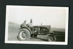 Man w/ ALLIS CHALMERS Tractor w/ PTO Vintage Photo 462171