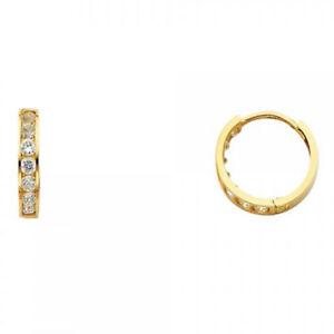 Round Simulated Diamond Huggies Unisex Hoop 3mm Earrings 14K Solid Yellow Gold