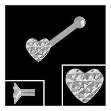 750 Weißgold Nasenpiercing Herz 2,3 mm Diamantiert  Nasenstecker Kugelstift