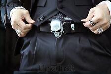 ByTheR Men's Gothic Wear Silver Metal Skull Buckle Biker Black Leather Belt N