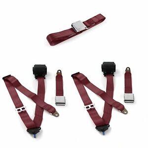 Mercury Eight 1949 - 1951 Airplane 3pt BURG Bench Seat Belt Kit - 3 Belts