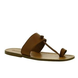 Handmade flat flip flops slippers for men in tan genuine leather Italian shoes