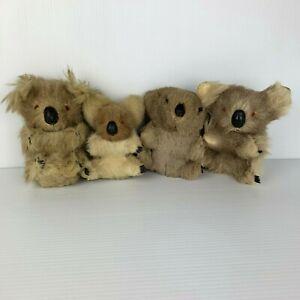 Vintage Real Fur Plush Small Lot of 4 Koalas Stuffed Toy Small 15 cm
