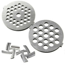 2 Grinder Plates + 2 Cutter Blade Food Mincer Cutter Parts For MG30/60 Grinder