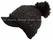 Women's Faux Fur Pom Pom Lined Knitted Beanie With Visor Winter Warm Hat Cool