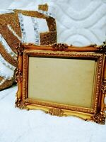 """6 x 8"""" gold ornate picture frame vintage, inset holds 5 x 7"""" photo tabletop"""