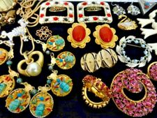 Vintage RHINESTONE Estate Jewelry Lot Signed Mixed Necklace Bracelet Ear Brooch