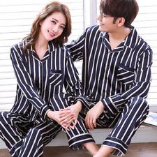 Womens Mens Sleepwear Silk Satin Pajamas Set Long Sleeve Pyjamas Nightwear New