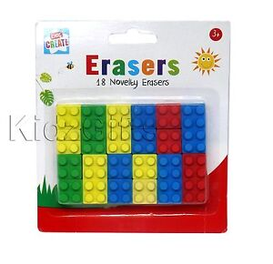 NOVELTY BUILD ERASERS School Building Construction Bricks Shaped Rubber Erasers