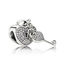 Authentic Pandora Lock of Love S925 Silver Clear CZ Bead Charm 791429CZ