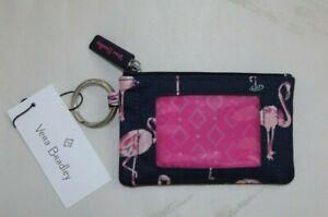 VERA BRADLEY Lighten Up  Zip ID Case - Credit Cards  - Pink Flamingo Fiesta Navy