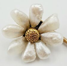 Vintage 10K Yellow Gold & Fresh Water Pearl Flower/Daisy Hat/Stick Pin 1.2g