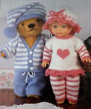 "Poupée/teddy vintage knitting pattern pj 's tops pantalon caps 12-22"" tall J7140"