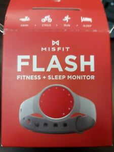 MISFIT FLASH FITNESS + SLEEP MONITOR FOR WRIST RED SENSOR  WITH GRAY BAND.