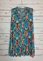 Umgee Boutique Women's M Medium Blue Floral Sleeveless Spring Summer Tunic Top
