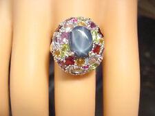 BLUE STAR SAPPHIRE 2.47 CTS w/ PERIDOT RUBY GARNETS AQUA ECT 925 STERLING RING