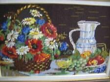 Finished Needlepoint Picture Flower Basket, Jug & Fruit 22.75x13.5 Inches