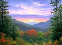 "Art Giclee Print Mountain scenery Oil painting Printed on canvas 16""X20"" P210"