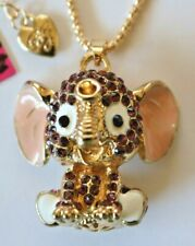 NEW! Betsey Johnson Rhinestone Enamel Baby Elephant Necklace Pendant