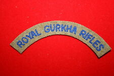 BRITISH ARMY ROYAL GURKHA RIFLES CLOTH SHOULDER TITLE NEPAL