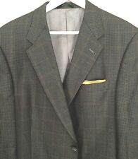 Hart Schaffner Marx Multi Color Shadow Window Pane Spts Coat 46R Lux Silk / Wool