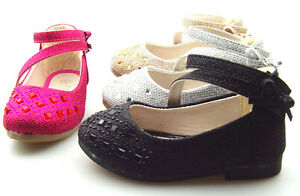 Infant Toddler Girl's Glitter Rhinestone Mary Jane Ankle Strap Ballet Flat shoes