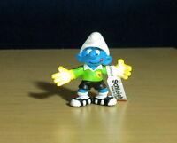 Smurfs 20525 Goalkeeper Smurf Soccer Goalie Rare Vintage Figure PVC Toy Figurine