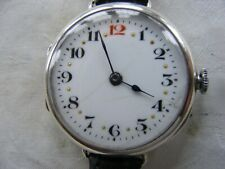 BEAUTIFUL ZENITH SILVER GENTS TRENCH WATCH c1914-18 WORKING WELL