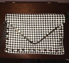 Aldo Black & White Woven Studded Envelope Clutch