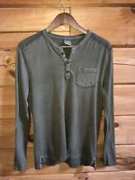ABERCROMBIE Men's Olive Green Muscle Quarter Button Long Sleeve Shirt Sz Small
