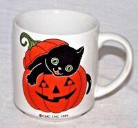 Black Cat Halloween Orange Pumpkin Mug Jack O Lantern CMC 1986 Coffee Decor Cup