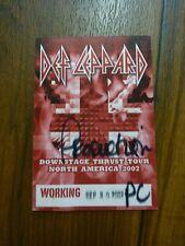 Def Leppard Working Downstage Thrust Tour 2007 Backstage Concert Pass