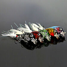 Lot of 5pcs Bass Crank Baits Feather Hooks Fishing Lures CrankBait Tackles Kit