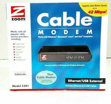 New Zoom Cable Modem Ethernet/USB External Model 5241 Windows Mac Linus Unix