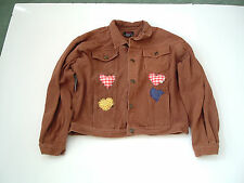 retro brown denim jean jacket with hand made puff applique butterfly flower art