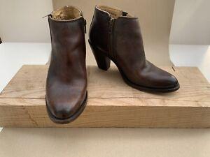 Frye 'Mustang Shortie' Boots Leather High-Heel Mahogany US 8 UK 6