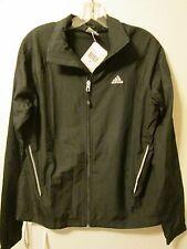 Adidas 3S Wind Jacket Lined Black Athletic Training Performance Sz L NWT $50