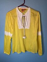 Tory Burch Yellow  Embroidered Peasant Top Size 6 semi sheer