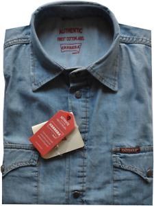 CAMICIA UOMO Jeans manica lunga taschin M L XL XXL XXXL CARRERA denim blu chiaro
