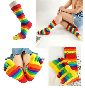 WOMENS GIRLS Kid Cotton TOE SOCKS Rainbow Stripe Party Costume Ball Size 2-8