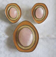 CELIA SEBIRI for Avon Peach Rose Quartz Brooch & Earring Set