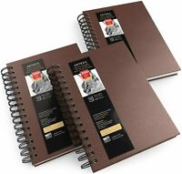 "ARTEZA Sketchbook, Spiral-Bound Hardcover, Brown, 5.5"" x 8.5"" - Pack of 3"