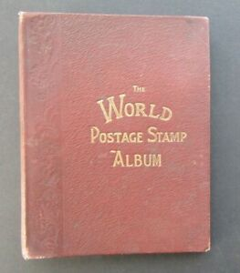 OLD 19th CENTURY HINTON ALBUM WITH VINTAGE WORLD COLLECTION ISIDE - MINT/USED