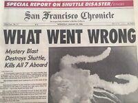 San Francisco Chronicle Jan. 20, 1986 NASA Space Shuttle Deaths Newspaper