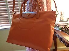 NWT PRADA Tessuto Saffiano Nylon Tote  Shoulder Bag PAPAYA  BN2541   DUSTBAG