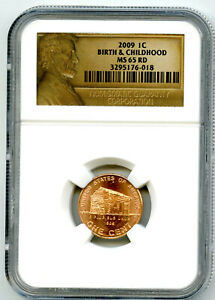 2009 P US MINT CENT BIRTH AND CHILDHOOD PENNY NGC MS65 RD LINCOLN LABEL