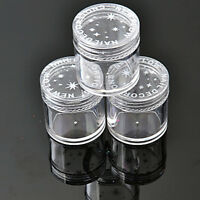 10 x Plastic Round Clear Empty Nail Art Storage Box Rhinestone Bead Container TZ