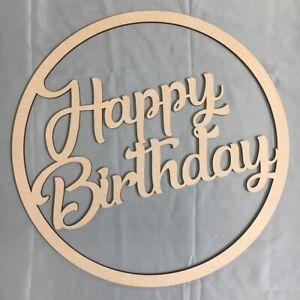 30cm Happy Birthday Hoop Ring MDF Wall Sign Celebration Decoration Blank Ring