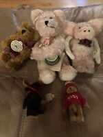 "Lot of 5 Boyds Bears Ornaments  3"" 5"" 6"" 8"" Angel Bear Pig Moose Jointed Plush"
